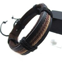 Wholesale fine leather accessories - Wholesale-Men PU Leather Bracelet Bangle Hombre couples women adjustable punk charms bracelets Fine Jewelry Accessories Best Friend Gift