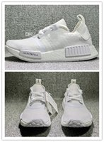Wholesale Cheap Real Designer - Cheap New NMD Japan Pack Triple White BZ0221 Triple Black BZ0220 Real Boost NMD R1 Primeknit Running Shoes for men designer shoe size 36-45