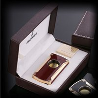 Wholesale Induction Lighters - Electronic touch lighter induction lighters Zinc Alloy windproof gas inflatable cigarette jet lighter have 5 Colors