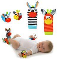 Wholesale Giraffe Foot - Wholesale- Candice guo plush toy stuffed doll baby Rattles Mobiles colorful giraffe zebra Wrist Rattle Foot Socks birthday gift 4pcs set