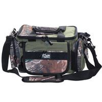 комплект талии для рыболовных снастей оптовых-Wholesale- 37X23X23cm Outdoor Waist Pack Fishing Bag Multifunctional Bolsa Preta De Pesca Carp Fishing Tackle Canvas Waterproof Bags