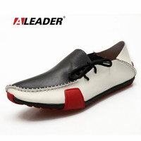 Wholesale Rubber For Hand Made Shoes - Wholesale- Genuine Leather Mens Shoes Casual Summer Autumn Fashion Loafers Shoes for Man Hand Made Driving Shoes Men Comfort Flats 39-47