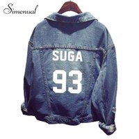 Wholesale Jeans Casual Mujer - Wholesale- Fashion vintage BTS denim jacket womenswear letter print cut out jeans jackets and coats 2016 spring new pockets chaquetas mujer