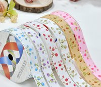 Wholesale Ribbon 9mm Flower - 9mm 16mm 25mm 38mm width flower rose pattern hair ornaments colorful Grosgrain ribbon 100 yards DIY accessories Gift Wrap packing