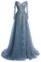 Wholesale Pregnant Women Evening Dress - Long Arabic Lace Evening Dresses Haze Blue Cap Long Sleeves Lace Sequins Plus Size Pregnant Dress for Women Middle East Custom Made Gowns
