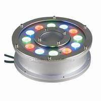 ingrosso fontana ha portato 18w-Luce per fontana subacquea RGB LED 6W 9W 12W 15W 18W IP68 Luce a LED per piscina Lampade Luci a LED per fontana con telecomando RF