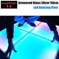 pistas de baile rgb led al por mayor-Precio de descuento 50cmx50cm vidrio acorazado led piso de baile Vidrio templado esmerilado IP65 Interior / Exterior RGB Leds DMX / Auto / Sonido precio de fábrica