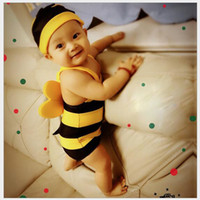 Wholesale Swimsuit Bee - Swimsuit 2016 New baby Swimwear boys Girls Cute Little Bees Bathing Suit Kids One Piece Cartoon Swimming Suit Baby Swimwear QT025