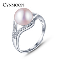 Wholesale Pink Mother Pearl Shell - 2017 Classic 925 Sterling Silver Simple Freshwater Cultured Pearl Ring For Wife,Pink,White,Purple Pearl Ring for Mother's Gift