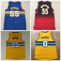 Wholesale Vintage 55 - Throwback 55 Dikembe Mutombo Jerseys Men Basketball 35 Kenneth Faried 0 Emmanuel Mudiay Vintage Jersey Retro Yellow Blue Red Black Color