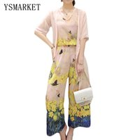 Wholesale New Women s Three Pieces Suit Sweet Pinkish Floral Print Top Wide Leg Pants With Perspective Gauze Amice Loose Chiffon Suit