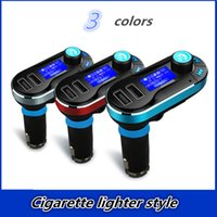 Wholesale Audio Lighter - Wholesale-Cigarette lighter style Car Bluetooth hands-free Kit AUX FM transmitter MP3 Player Audio Receiver Adapter Free shipping