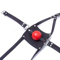 Wholesale Collar S For Adults - Fetish Slave Ball Gag Bondage S&M Breathable Mouth Mask Rivets Collar Full Head Adjustable Bondage Adult Sex Toys for Couples