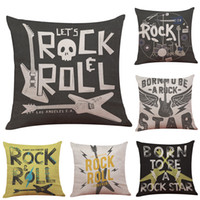 Wholesale Square Guitar Case - Alphabet Guitar Linen Cushion Cover Home Office Sofa Square Pillow Case Decorative Cushion Covers Pillowcases Without Insert(18*18Inch)