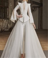 Wholesale Cheap Fashionable Wedding Dresses - Modern Non-traditional Wedding Dresses Pants Long Sleeve Elegant Fashionable Wedding Dresses Unique Wedding Gowns Online Cheap Best Quality