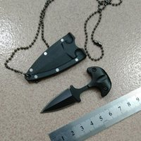 Wholesale Super Defense - 2017 new Cold steel Super Edge Fixed Blade bead chain neck tactical knife EDC gear gift for man 1pc