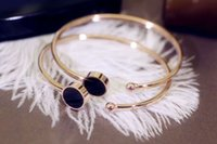 Wholesale Black Crystal Jewelry Set - 316L Stainless Steel Brand Bracelets & Bangles for women jewelry never fade