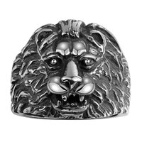 Wholesale Ferocious Animals - Ferocious Lion Vintage Men Stainless Steel Ring Handmade Christmas Halloween Gifts Free Shipping Size 8 9 10 11 GMYR099