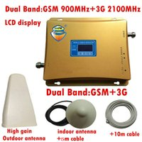 Wholesale Cdma Booster Repeater - GSM 3G Repeater Dual Band GSM 900 MHz 2100 MHz W-CDMA UMTS Repetidor 3G Antenna Signal Amplifier 2G 3G Cell Phone Booster Sets