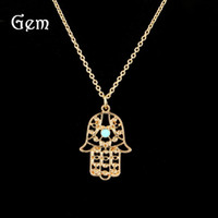 Wholesale Blue Heart Diamond Pendant - Fatima Hand Necklace Diamond Necklace Hamsa Evil Eye Fatima Hand Blue Eyes Hamsa Gold Chains For Men Jewelry Wholesale