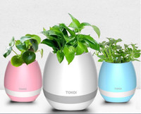 Wholesale Flower Music Box - TOKQI Bluetooth Playing Smart Music Flowerpot Plant Interaction Speaker With Colorful Led Light Touch Sensor With Retail Box DHL