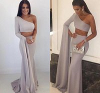Wholesale New Style Mermaid Evening Gown - Vestido De Fiesta 2018 Sexy Two Pieces One Shoulder Mermaid Prom Dresses Custom Made Long New Style Women's Evening Party Gowns