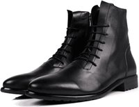 oxford military shoes - Mens real leather ankle boots autumn winter oxford high top shoes men fashion pointed toe lace up cow leather military boots man