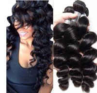 Wholesale lummy resale online - LUMMY Brazilian Loose Wave Human Hair Weaves Bundles Unprocessed Peruvian Malaysian Indian Loose Curly Hair Double Wefts Natural Black