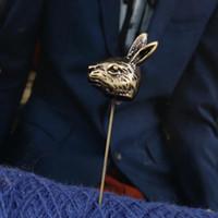 Wholesale antique lapel pins - Wholesale- 8SEASONS 1 PC Rabbit Stick Pin Brooches Tie Tac Lapel Pin Brooch Sweater Clips Clothes Decoration Antique Bronze 7.7cm x 2.6cm