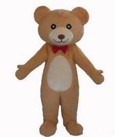 traje de urso vermelho venda por atacado-Alta qualidade !!! Adulto gravata vermelha urso de pelúcia traje ursinho de pelúcia traje da mascote do traje do ursinho de pelúcia