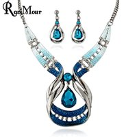 Wholesale Crystal Droplet Necklace - RAVIMOUR Blue Crystal Jewelry Sets Fashion Droplet Statement Necklaces Earrings Set for Women Bridal Parure Bijoux Femme New