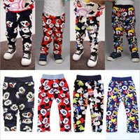 Wholesale Pencil Cartoon Character - Kids Clothing Mickey Minnie Pants Cartoon Printed Leggings Fashion Velvet Trousers Winter Warm Pants Mouse Outdoor Baby Boys CLothes B2424