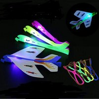 Wholesale Planes Fly - Helicopter Flying Toy Amazing LED Light Arrow PlaneLED Light Plane DIY Model Arrow Rocket Flying Toy Party Gift Elastic YH318