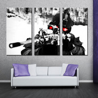 Wholesale Military Art Prints - 3 Pieces Wall Art Painting Sniper Aim Military Pictures Prints On Canvas Military The Picture For Home Living Room Modern Decor Unframed
