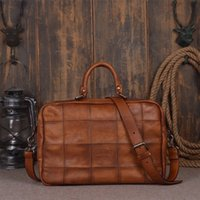 Atacado- Qualidade Qualidade Latticed Designer Genuine Cow Leather Man Porta-bagagens Laptop Bag Men's casual Cross Shoulder Bag Malas Masculinas Business
