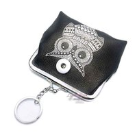 Mini PU Leather 014 Cute Owl 18mm Snap Button Small Women Bag Charms Multifunction Keyring Key Rings Purse Key Chains jóias
