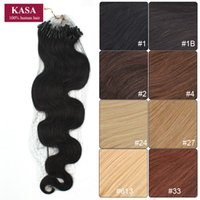 "Wholesale Wavy Remy Hair Micro - Wholesale-Micro Loop Ring Hair Extensions Curly Wave Wavy 20"" 50cm 50g Brazilian Remy Human Natural Hair Hairpieces Black Brown Blonde"