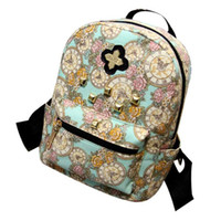 Wholesale Clock Bags - Wholesale- R1100% brand new and high quality Women Fashion Canvas Backpack Clock Flowers Canvas Bag travel bags gift free shipping