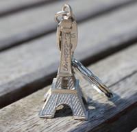 Wholesale Eiffel Souvenir - Fashion Classic French France Souvenir Paris 3D Eiffel Tower Model Keychain Retro Mini Metal Paris Keyring Key Chain Ring Gift ZA1458