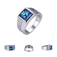 Wholesale Ring Stone For Male - 5Pcs High Quality Male Blue Stone Sapphire Ring For Men Wedding Engagement Stainless Steel Ring Size 7 8 9 10 11