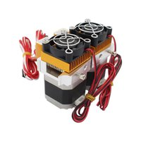 extrusora dupla 3d venda por atacado-Freeshipping Atualização Makerbot MK8 12 V Dual Head Bico 0.4 MM Extrusora Dupla Cabeça de Impressão Para Impressora 3D 1.75mm Filamento