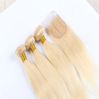 Wholesale Weave Hair 613 Color - 8A Brazilian Hair With Closure 613# Blonde Brazilian Hair Weave Bundle 1Pc Lace Closure With 3PCS bundles platinum blonde weave