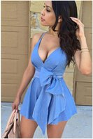 Wholesale Denim Jeans Dress For Women - dresses for womens Blue Cotton Denim Jeans V Neck Sleeveless Party Dress Casual Mini Dress With Bow