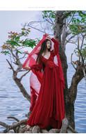 Wholesale Medieval Wine - free ship ramie cotton wine red V neck long vintage medieval dress Renaissance princess fairy costume Victorian dress Marie