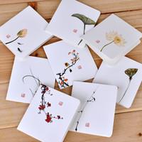 ingrosso inviti piegati quadrati-Piccolo Greeting Card carte di stampa del fiore del Ringraziamento fai da te Carta bianca Piazza cinese pieghevole classico biglietto d'invito messaggio HC07