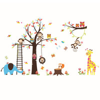 Wholesale sticker wall nursery owl resale online - Wal LDiy Cartoon Happy Monkey Owl Tree Wall Decals Vinyl Wall Stickers for Kids Rooms Baby Bedroom Home Decor