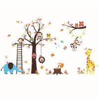 baykuş maymun duvar çıkartması toptan satış-Wal LDiy Karikatür Mutlu Maymun Baykuş Ağacı Duvar Çıkartmaları Çocuk Odaları için Vinil Duvar Çıkartmaları Bebek Odası Ev Dekor