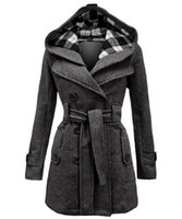 Wholesale Grey Coat Wool Woman - Womens Wool blends Winter Coats Hot Luxury Slim Double Breasted Outwear down Red coats