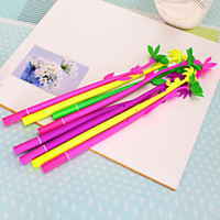 New Fashion 6 Piece Mixed Flower Plant Canetas Stylish Hot Creative Papelaria Bloom Sweet Lucky Flowers Pen Design Caneta Frete Grátis