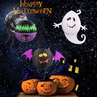 Wholesale Halloween Lights Lantern Ghost - 3D Paper Lantern Folding Spider Ghost Bat Hanging Lanterns Easy To Use For Halloween Decoration Pendant Props 2 2yz B R